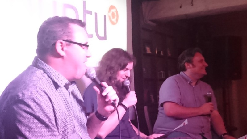 Martin, Mark, and Alan of the Ubuntu Podcast on stage