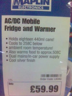 AC/DC Mobile Fridge and Warmer; Holds eighteen 440ml cans!; Cools to 258C below ambient room temperature!; Also warms food to approx. 508C; Dual mains/in-car power supply; Cool silver finish; £59.99